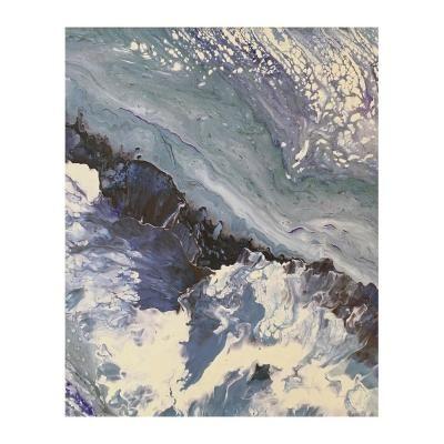 Poszter, absztrakt, keret nélkül, 40x50 cm, szürke - UNE ILE